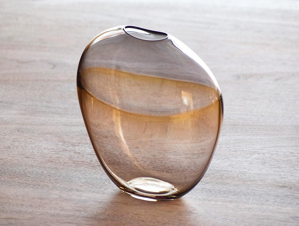 Amber Grey Glass Flat Vase