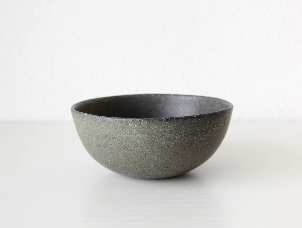 Speckled Green Bowl M by Mushimegane Books at OEN Shop