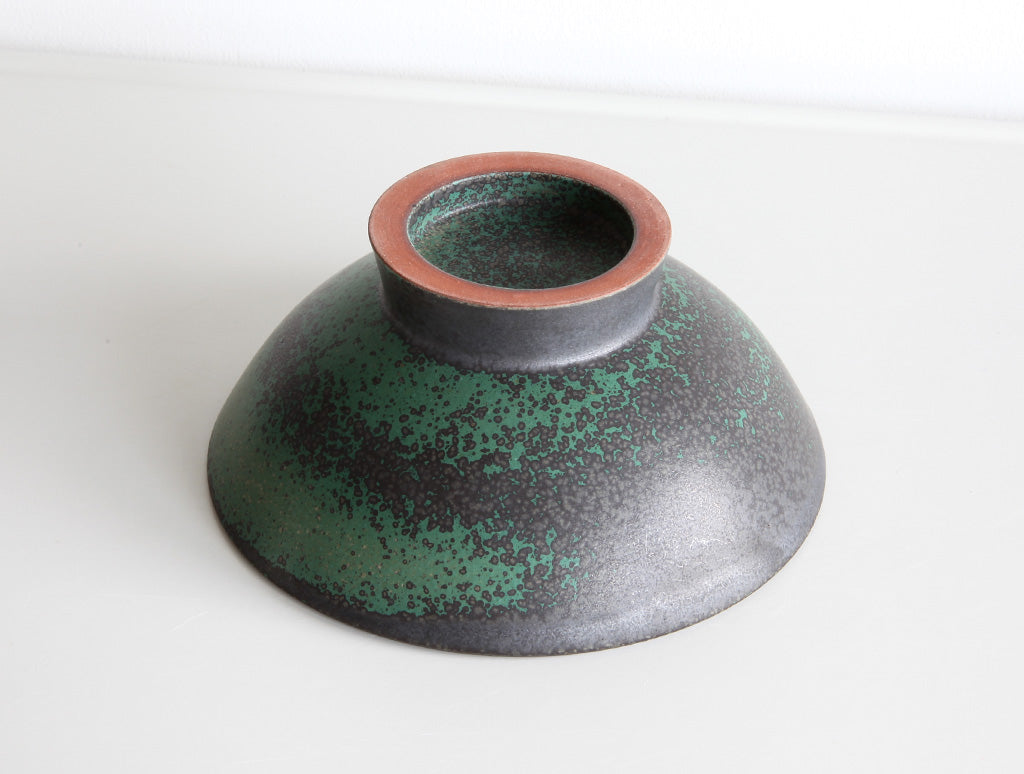 Footed Green Bowl by Mushimegane Books at OEN Shop