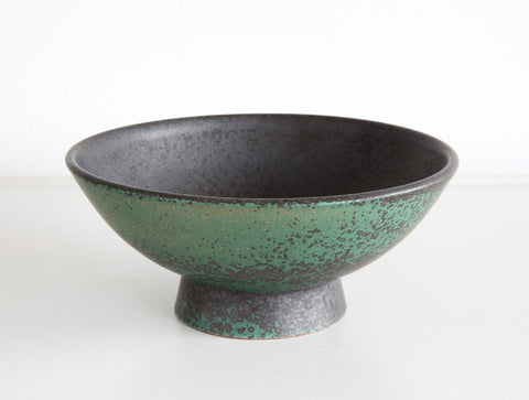 Footed Green Bowl by Mushimegane Books