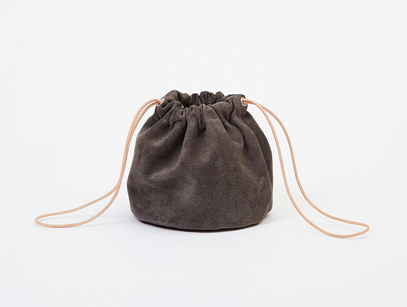 Grey Suede Drawstring Pouch