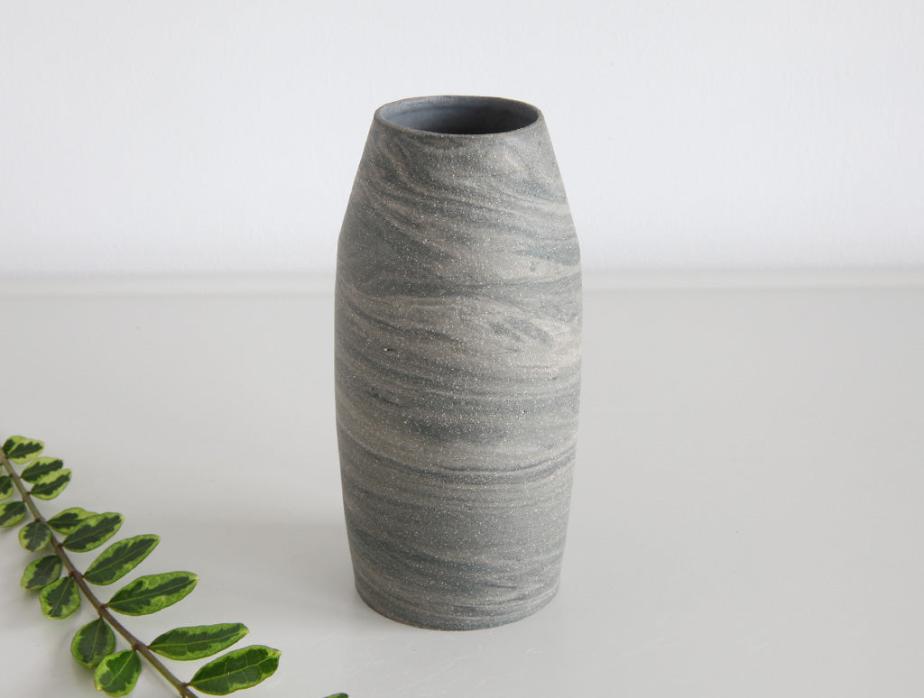 Grey Swirl Stone Bud Vase by Mark Robinson at OEN Shop