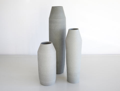 3 Light Grey Stone Bottle Set by Mark Robinson