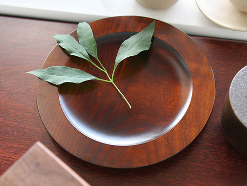 Brown Hamon Rim Plate by Fujii Works