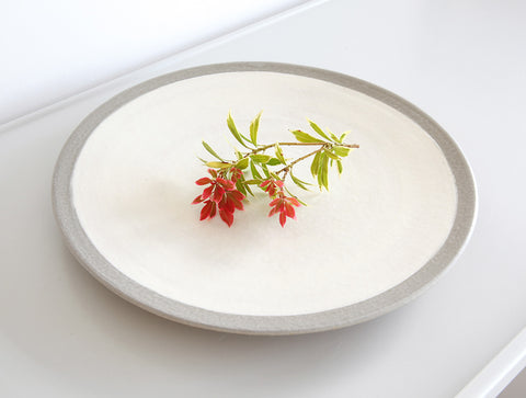 White Grey Edged Plate by Inima Pottery
