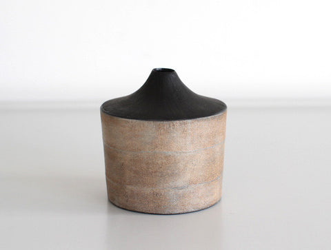 Orange Black Dry Lacquer Vase by Mie Yokouchi