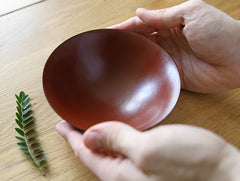 Red Lacquer Curved Bowl by Mutsumi Goto at OEN Shop