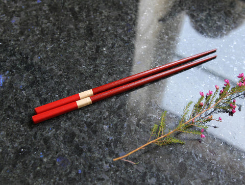 Red Lacquered Chopsticks by Maiko Okuno