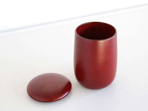 Red Lacquer Curved Pot by Tomoaki Nakano