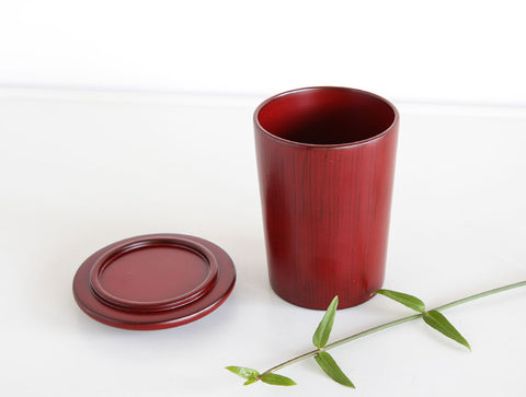 Red Lidded Lacquer Pot by Tomoaki Nakano