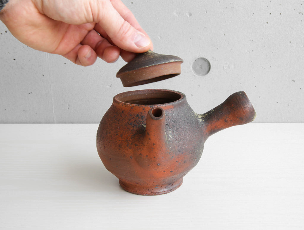 Red Side Handle Teapot by Keiji Tanaka at OEN Shop