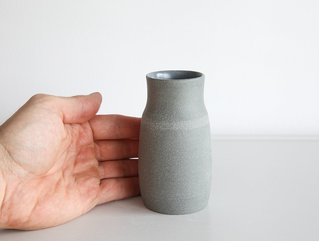 Small Grey Stone Rounded Vase by Mark Robinson at OEN Shop