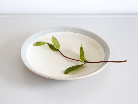 White Blue Edged Plate by Inima Pottery