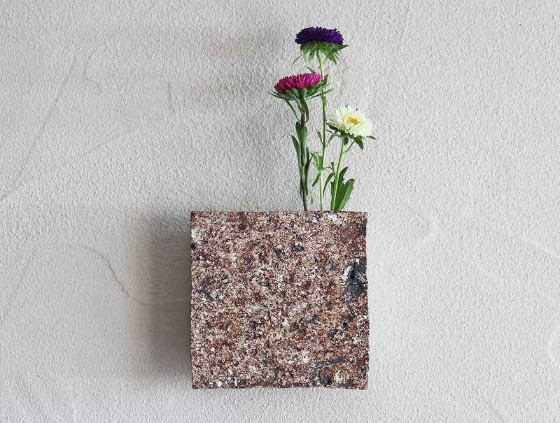 Red Tea Square Wall Vase