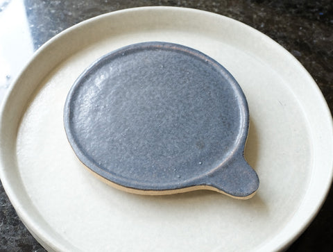 Black Flat Tab Dish by Inima Pottery