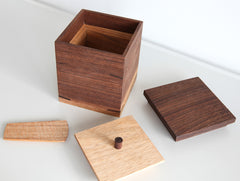 Square Walnut Tea Container by Eiji Hagiwara at OEN Shop