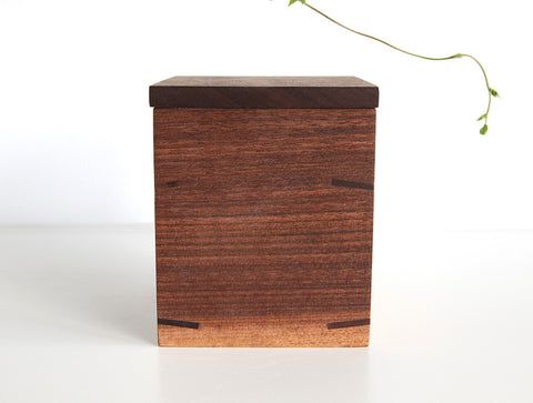 Square Walnut Tea Container by Eiji Hagiwara