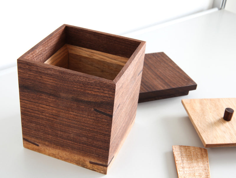 Square Walnut Tea Container