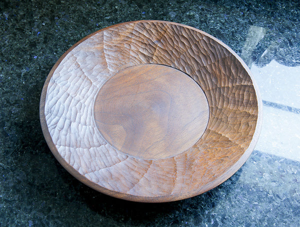 Carved Large Walnut Dish