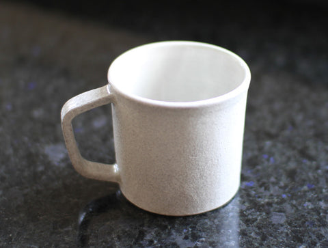 White Angled Handle Mug by Kana Tozuka