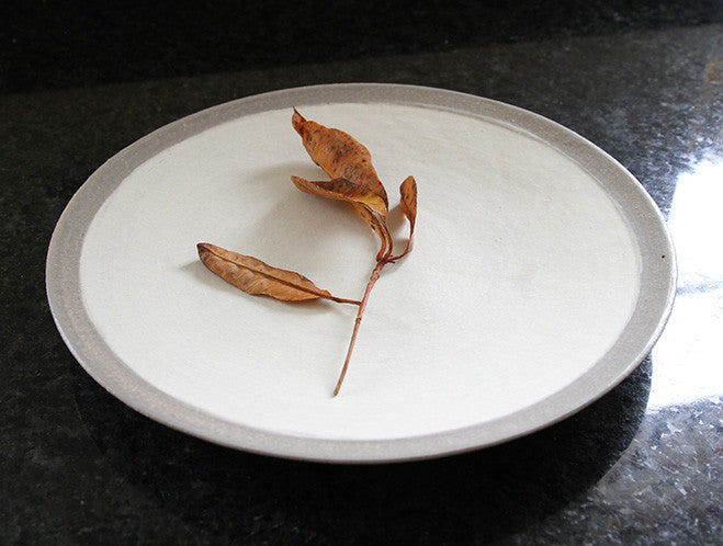 White Grey Edged Plate by Inima Pottery at OEN Shop