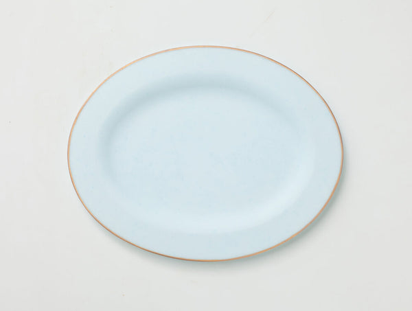 Rim Plate Oval Light Blue