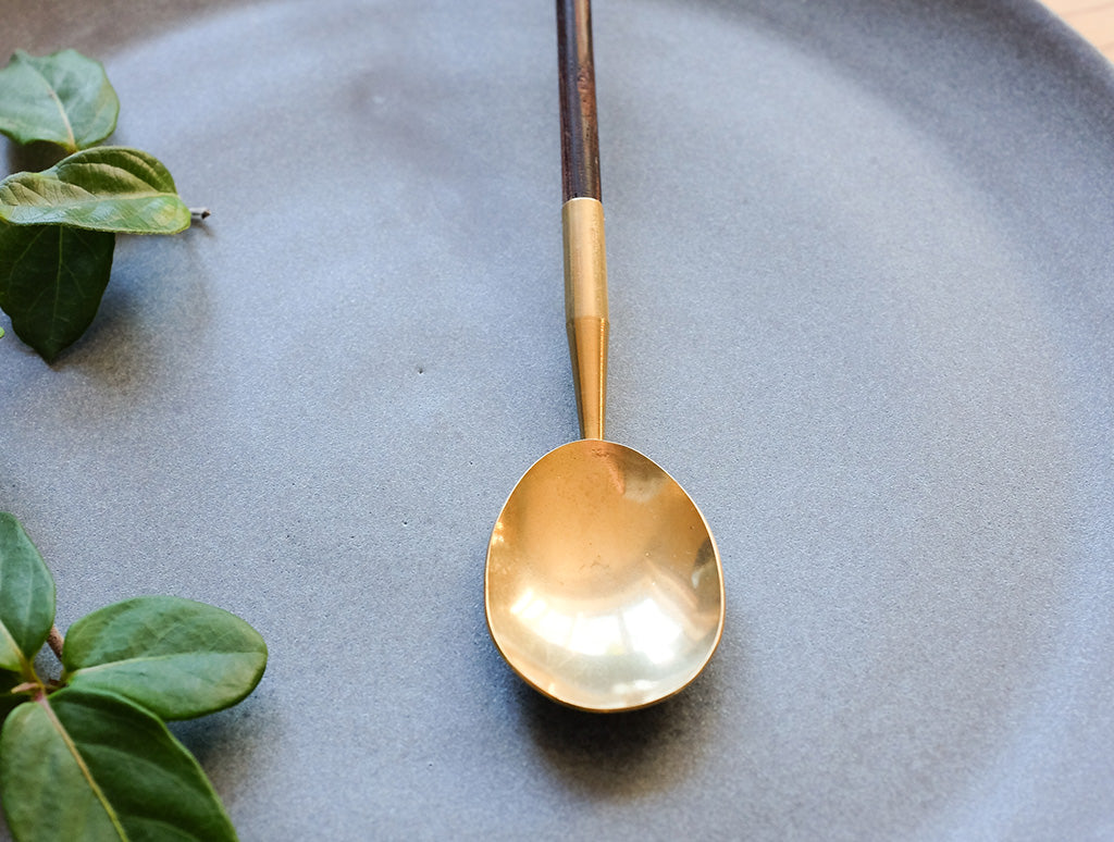 Brass Wooden Handle Spoon by Lue Brass at OEN Shop