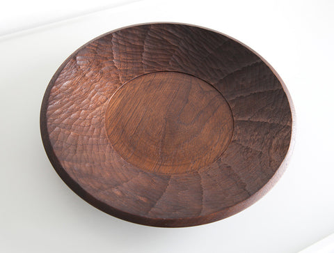 Carved Large Walnut Dish by Atelier tree song