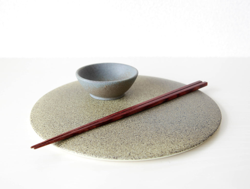 Speckled Brown Flat Plate by Mushimegane Books at OEN Shop
