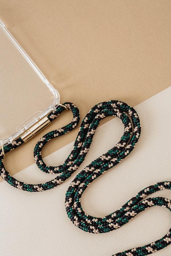 Lassoo Camo Cord and maximum protection Case. Exchange the Cord on your smartphone lanyard to match any fashion outfit.