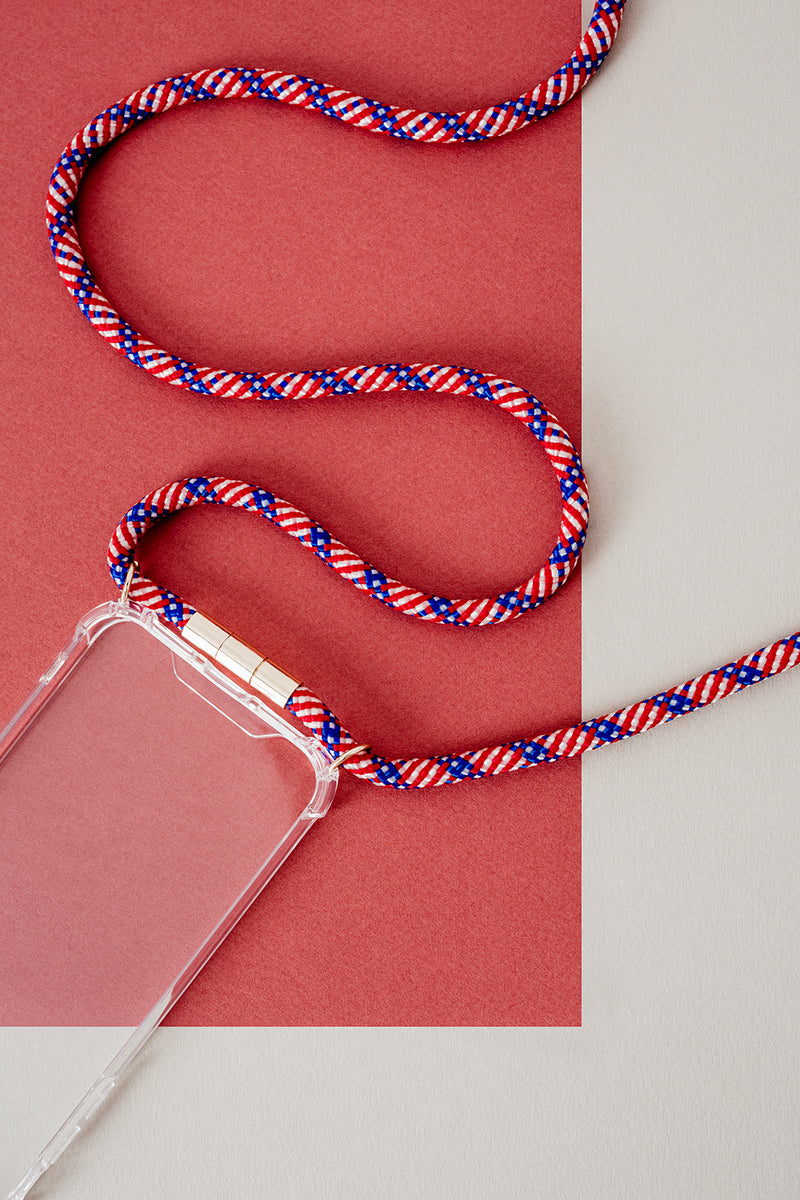 Lassoo Stars N' Stripes Cord and maximum protection Case. Exchange the Cord on your smartphone lanyard to match any fashion outfit.