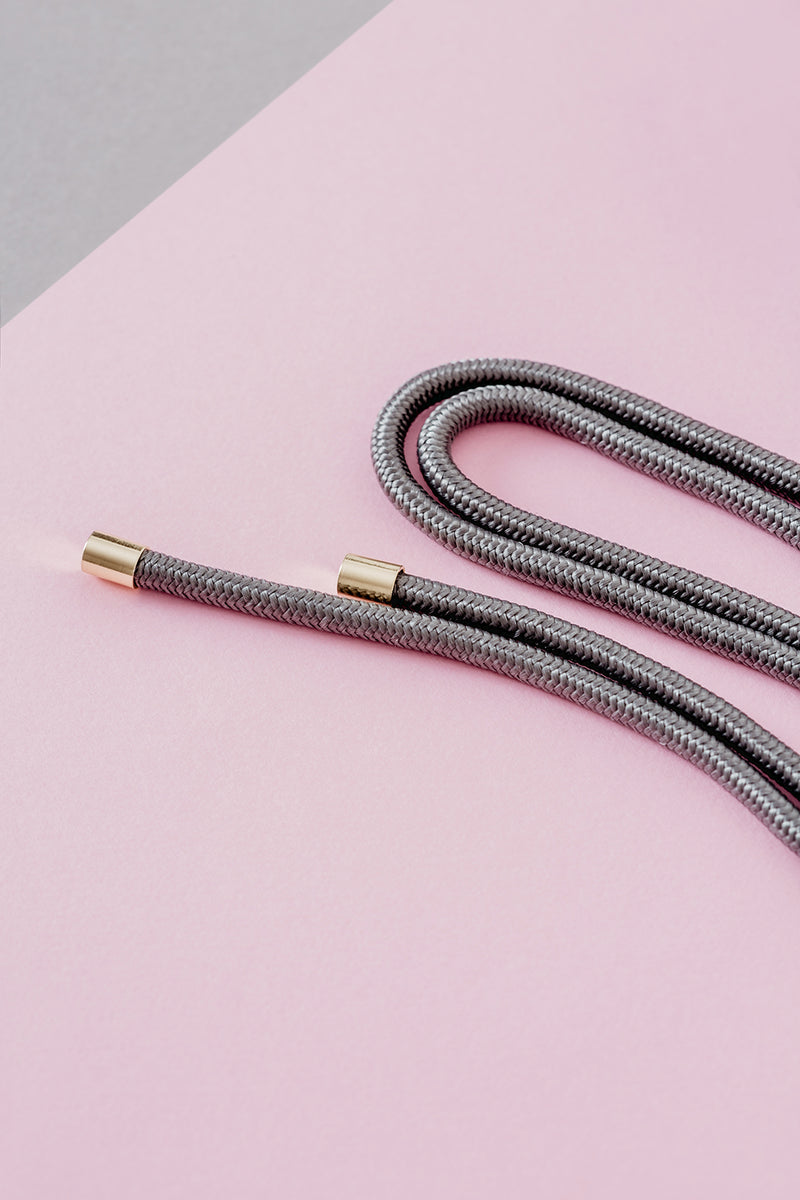 Lassoo Steel Grey Cord accessory. Exchange the Cord on your smartphone necklace to match any fashion outfit.