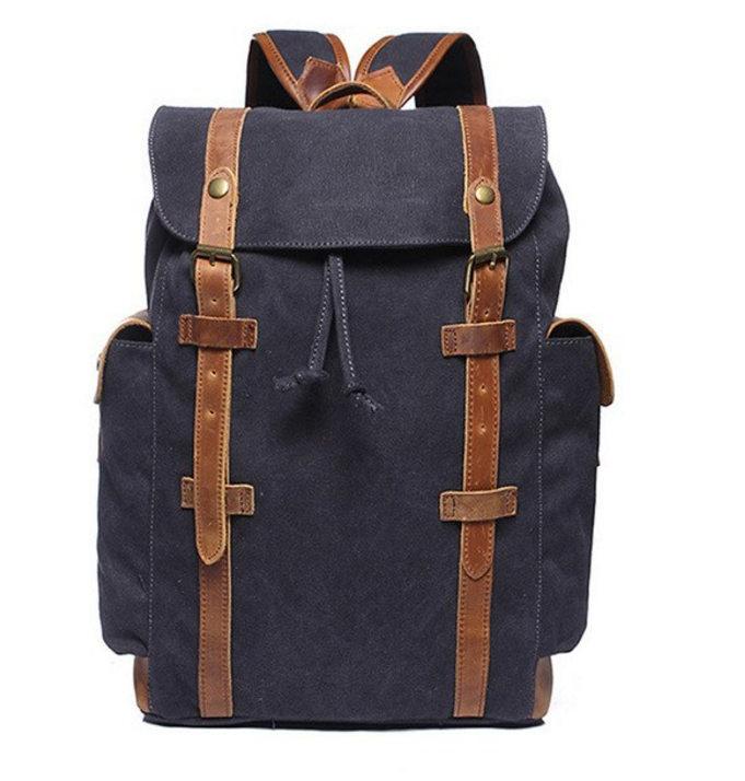 b13b8db16549 Large Capacity Laptop Backpack Men Computer Canvas Crazy Horse Leather Belt Retro  School Shoulder Bag Brand Travel Bags(BP006)