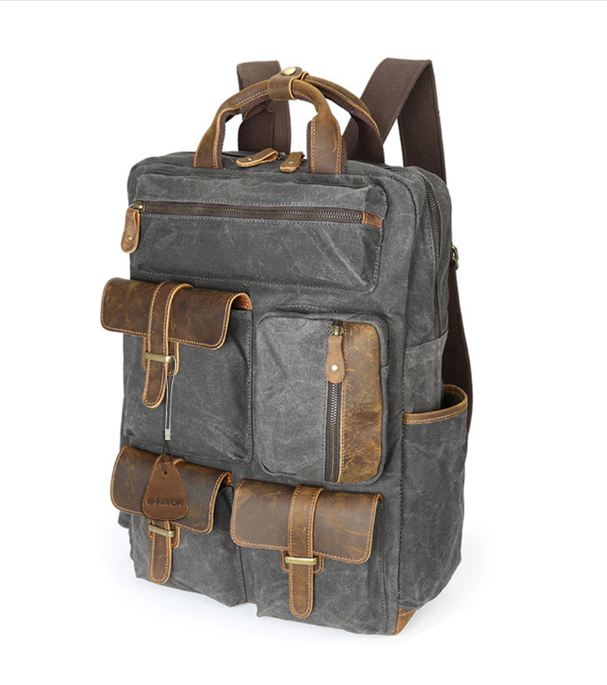 b30bc959ae Large Capacity Travel Shoulder Bag Men Canvas Crazy Horse Leather Vintage  Laptop Backpack Waterproof Military Mens Bags(BP007)