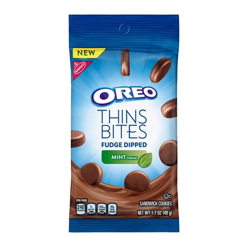 Oreo Thins Bite Fudge Dipped Mint Creme, monete di cioccolato con crema a menta da 168g