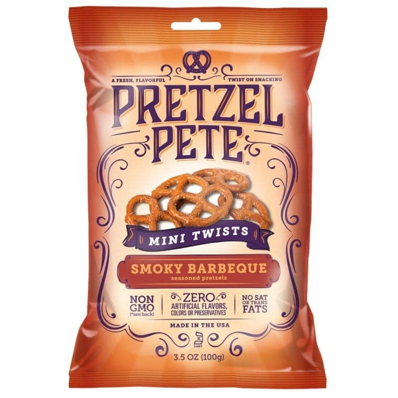 Pretzel Pete Mini Twists Smoky Barbeque, pretzel al gusto formaggio e BBQ da 100g (1954205171809)