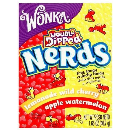 Wonka Nerds Watermelon Apple and Lemonade Wild Cherry, caramelle all'anguria rossa e limonata di ciliegia selvatica da 47g (1954208907361)