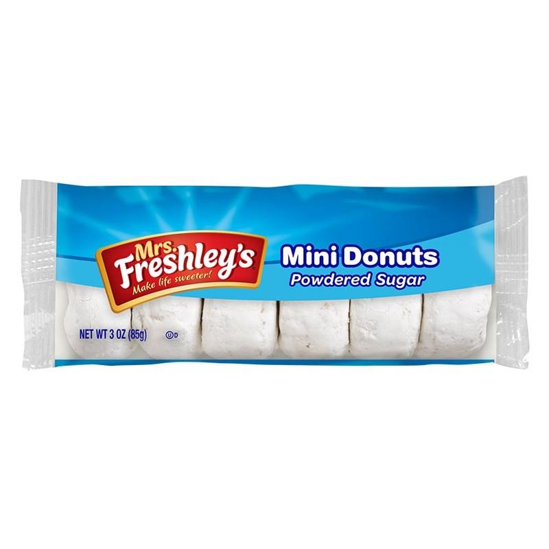 Mrs. Freshley's Powdered Sugar Mini Donuts, ciambelle ricoperte di zucchero da 85g (1977191432289)