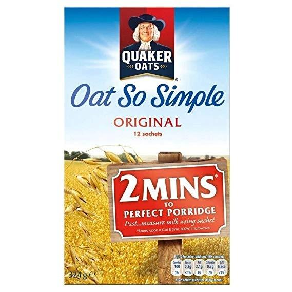 Quaker Oat So Simple Original, preparato per fiocchi d'avena da 324g (IN SCADENZA)