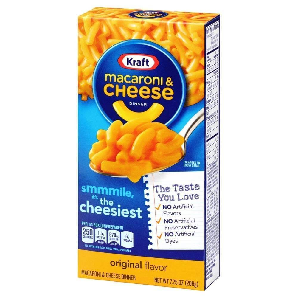 Kraft Macaroni and Cheese Dinner Family Size, preparato per pasta al formaggio nel formato maxi
