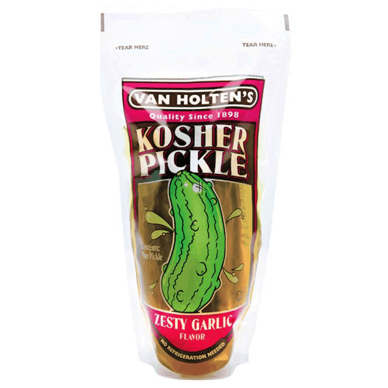 Van Holten's Kosher Pickle Zesty Garlic, cetriolo monoporzione all'aglio in sottaceto (2036333379681)