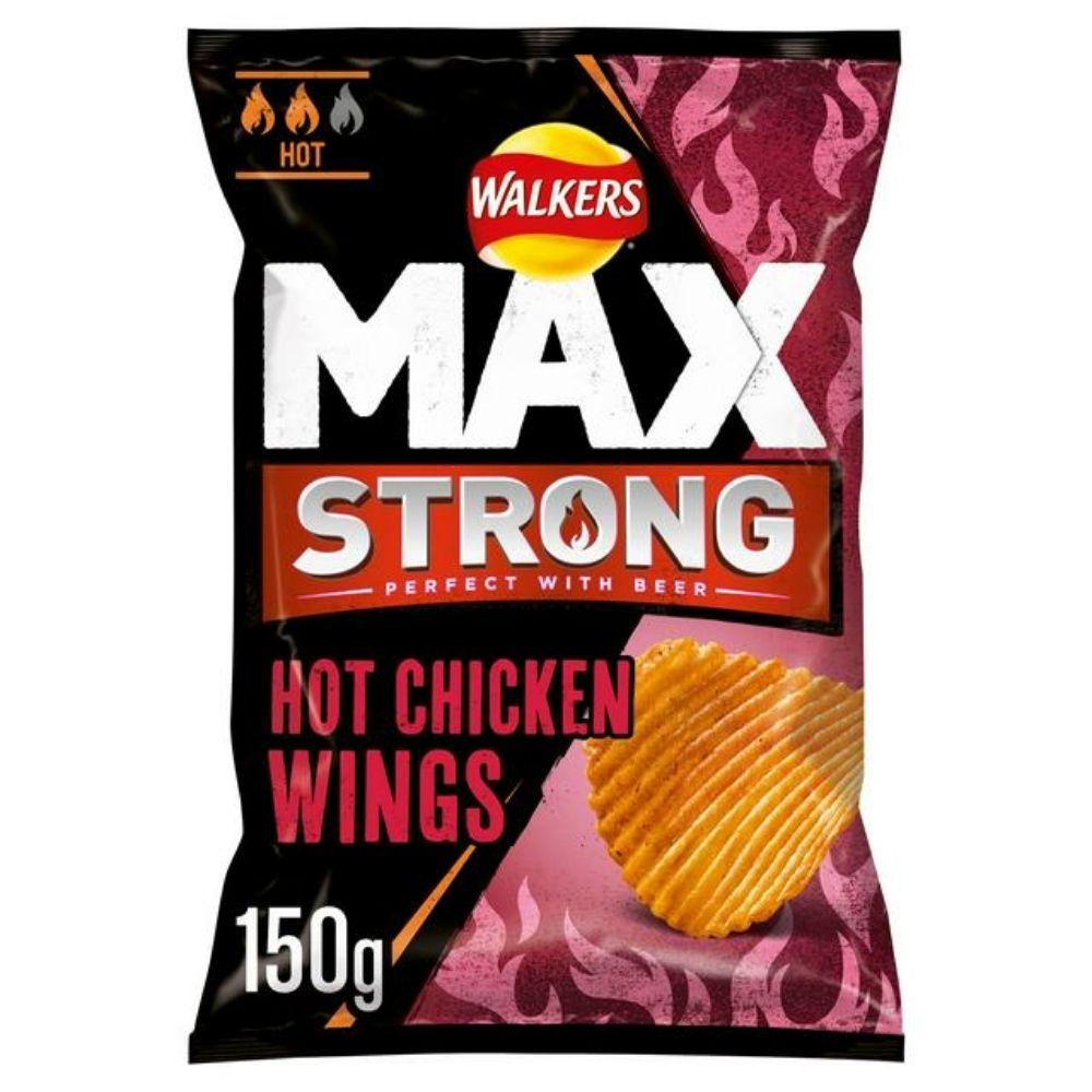 Walkers Max Strong Hot Chicken Wing, patatine al gusto di alette di pollo piccanti da 150g (4784094019681)