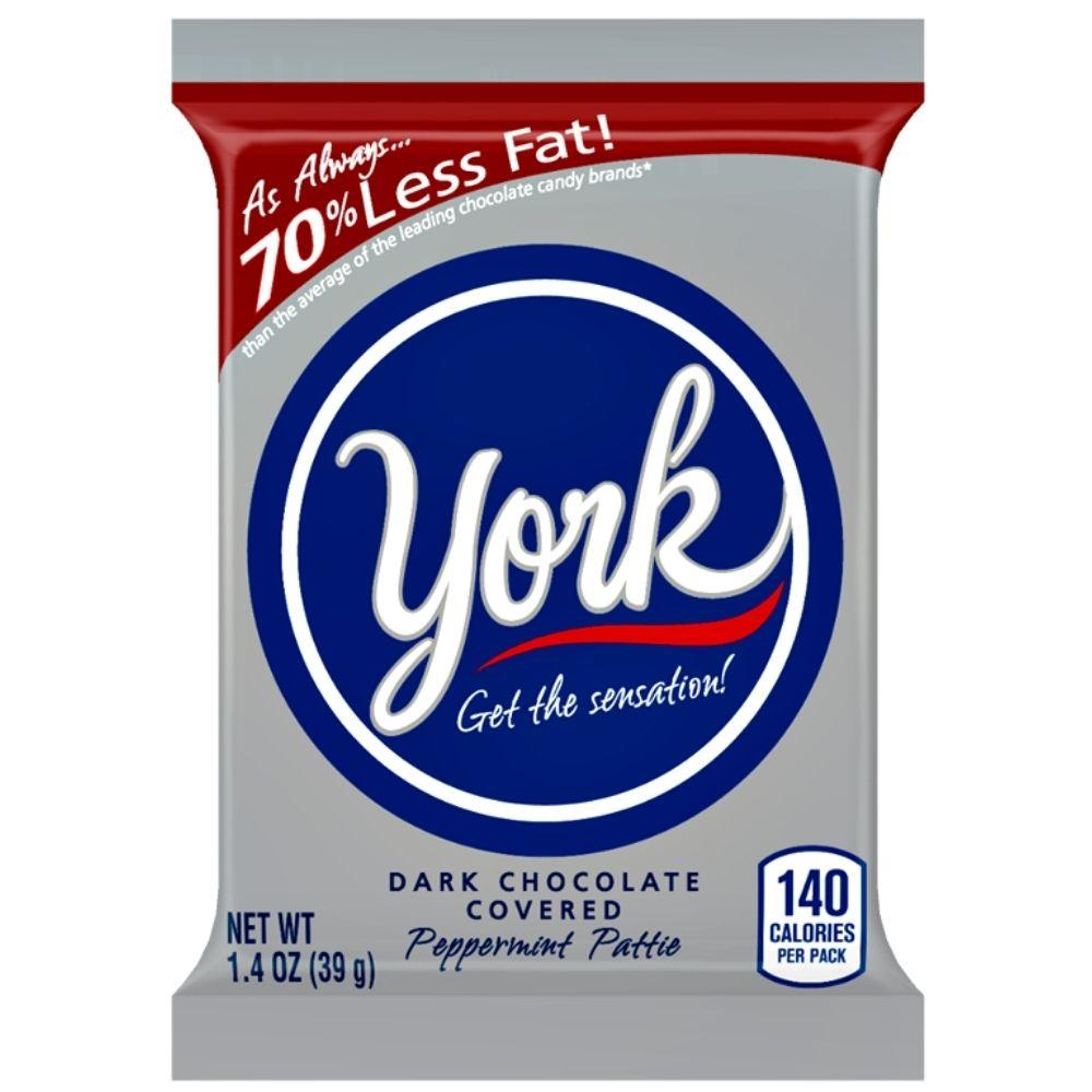 York Dark Chocolate Peppermint Patties, biscotto al cioccolato con crema alla menta da 39g
