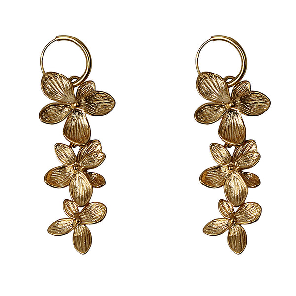 Three flowers pair of earrings