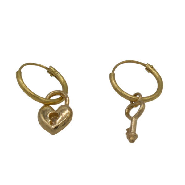 Lock / key pair of earrings