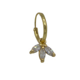 Small maple leaf diamond one earring
