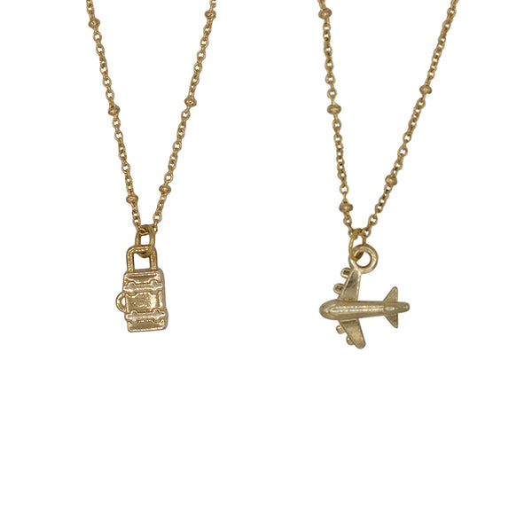 Airplane / suitcase 2x friendship necklaces