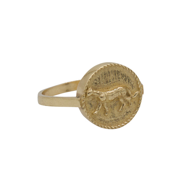Signet ring leopard small coin
