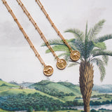 Small palmtree coin necklace