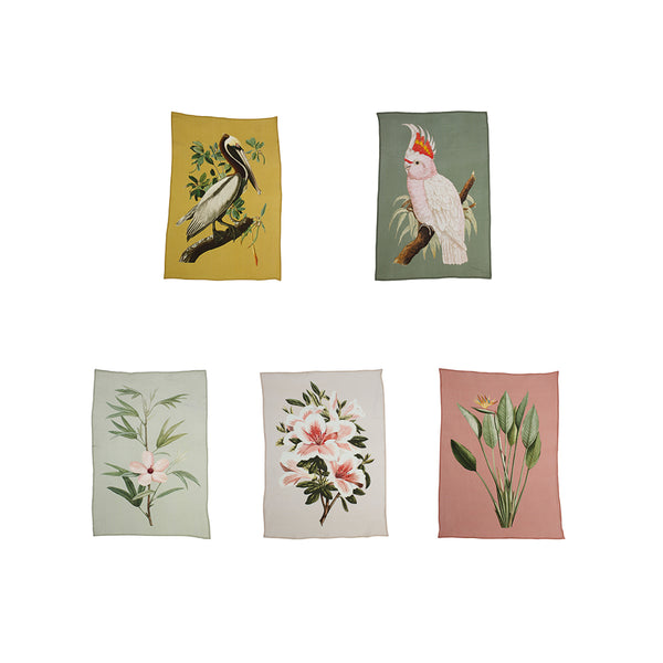 Set / 5 printed posters on viscose